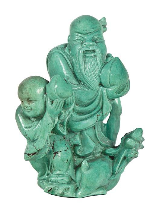 Escuela china del primer tercio del siglo XX Shoulao Escultura en turquesa tallada