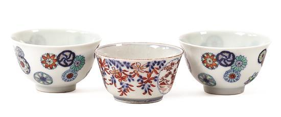 Chinese porcelain bowl and a pair of bowls, 20th Century
