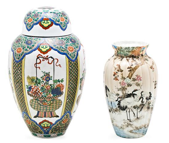 Chinese porcelain baluster vase and cover and Japanese porcelain vase, late 19th Century-first third 20th Century