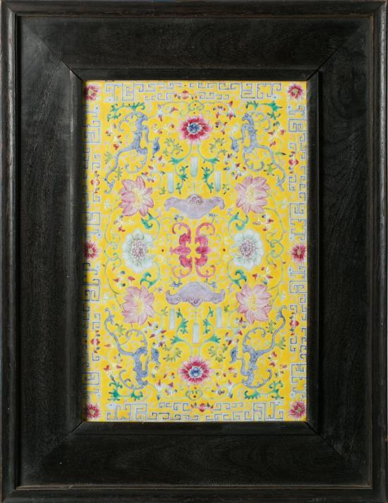 Chinese plaque in yellow ground porcelain, early 20th century