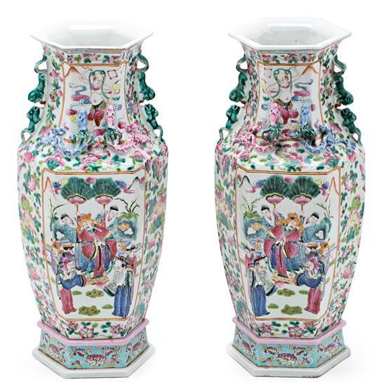 Pareja de jarrones chinos en porcelana Familia Rosa, de finales del siglo XIX