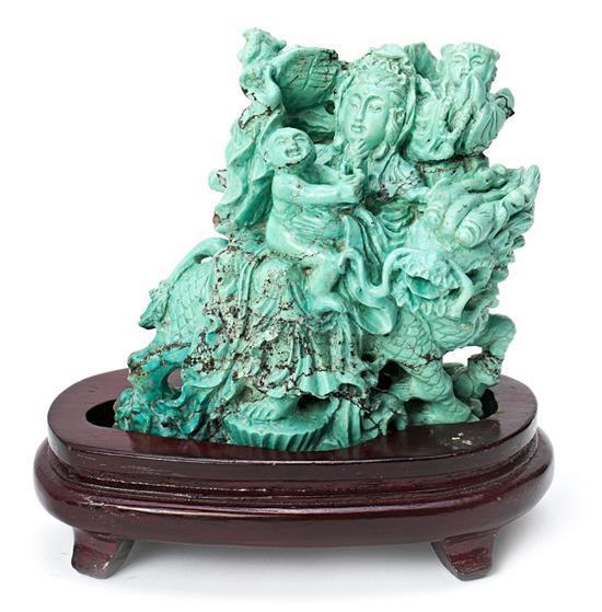 Escuela china del primer tercio del siglo XX Maternidad Grupo escultórico en turquesa