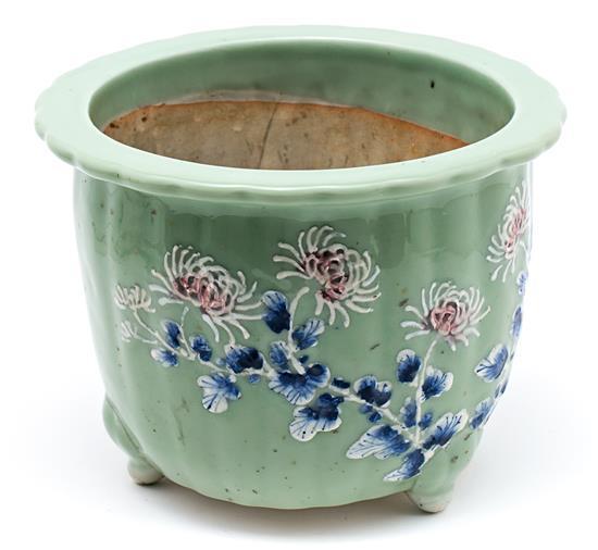 Jardinera china en porcelana celadón, de mediados del siglo XX