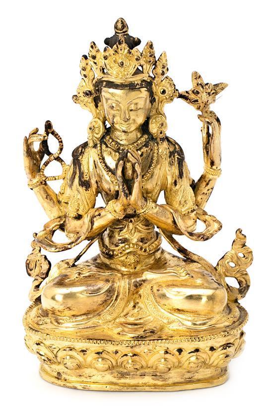 Escuela china del siglo XX Bodhisattva Escultura en bronce dorado