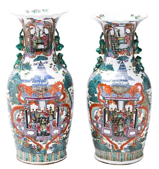 Pair of Chinese porcelain vases, early 20th Century