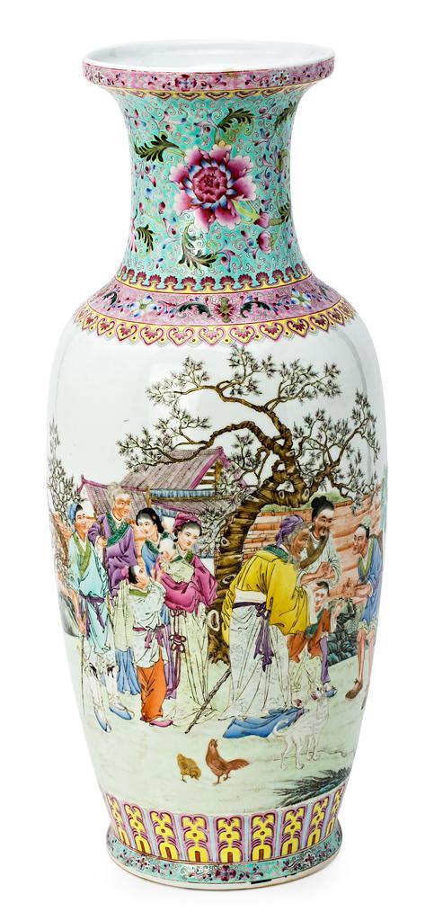 Jarrón chino en porcelana, de la primera mitad del siglo XX