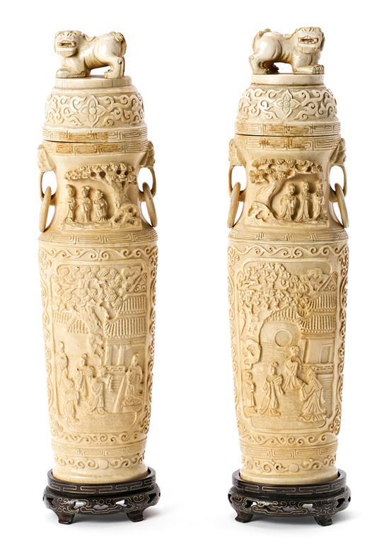 Chinese school, first third of the 20th century Pair of lidded vases