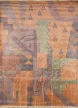 Large Art-Deco-style wool carpet from Nepal, third quarter of the 20th century