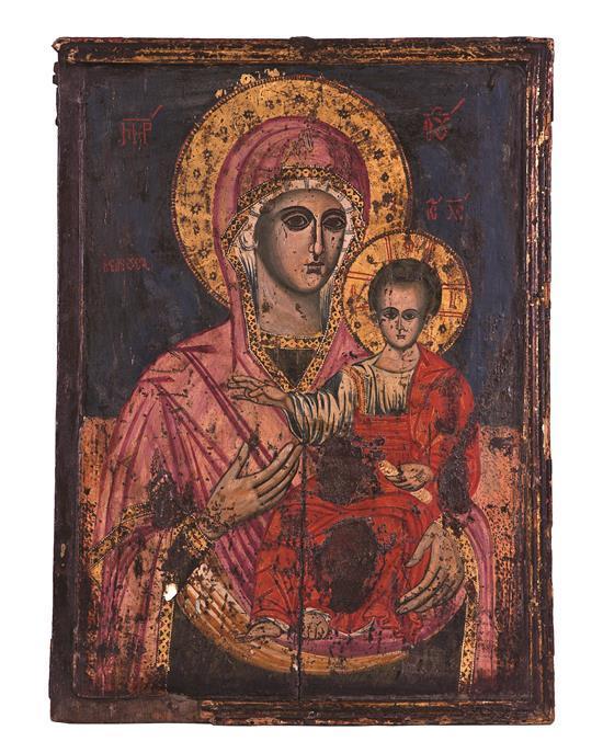 Escuela griega de finales del siglo XVIII Virgen con el Niño