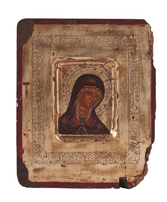 Escuela rusa de finales del siglo XVII Virgen Dolorosa Icono al temple y pan de oro sobre tabla