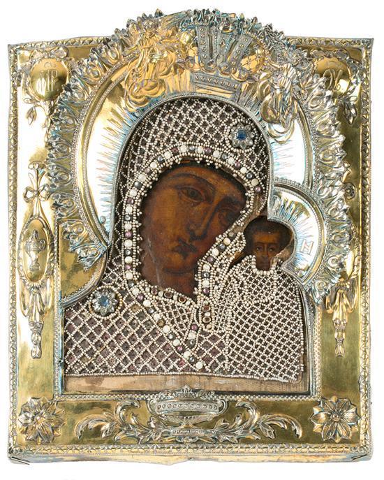 Escuela rusa del siglo XVII Virgen de Kazan Icono al temple sobre tabla con
