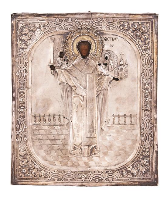 Escuela rusa del siglo XIX San Nicolás el milagroso con Cristo y la Virgen en medallones Icono al temple sobre tabla con