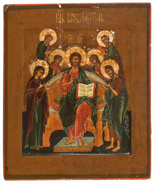 Escuela rusa del siglo XIX Cristo en Gloria flanqueado por San Pedro, San Pablo, el Arcángel Gabriel, el Arcángel Miguel, la Virgen...