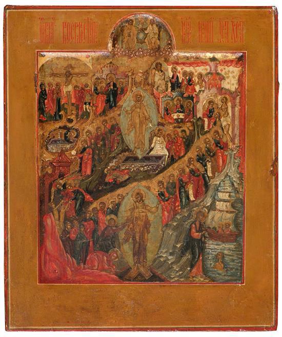 Escuela rusa del siglo XVII Escenas del Calvario y Resurrección de Cristo Icono al temple sobre tabla