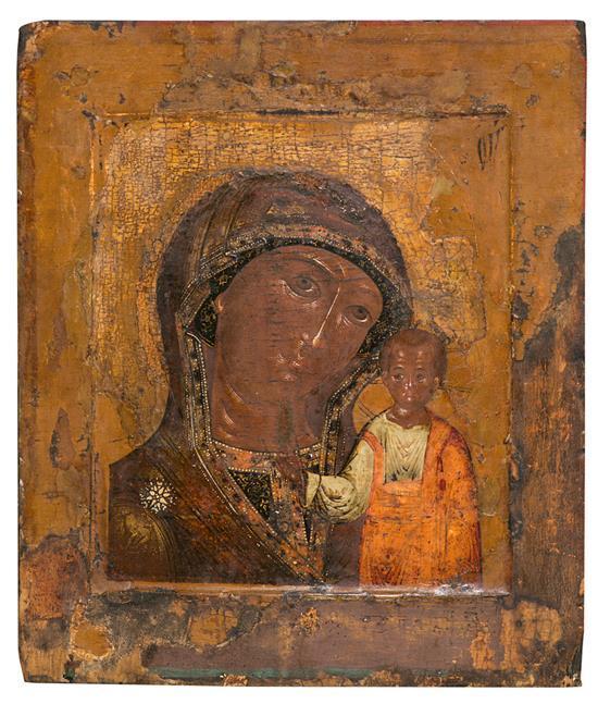 Escuela rusa del siglo XVIII Nuestra Señora de Kazán Icono al temple sobre tabla