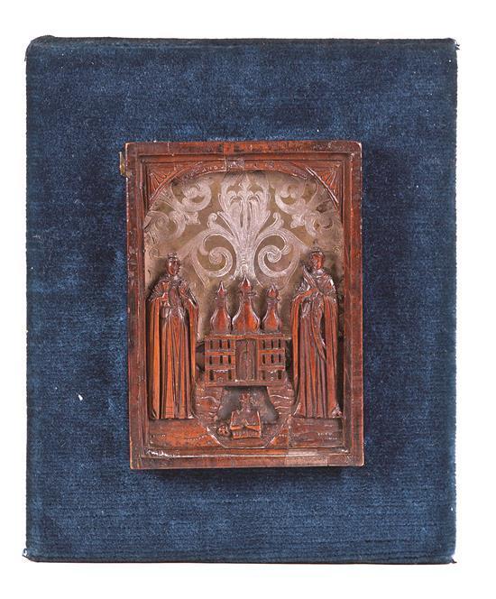 Escuela rusa del siglo XIX Dos santas Icono en madera de frutal y latón