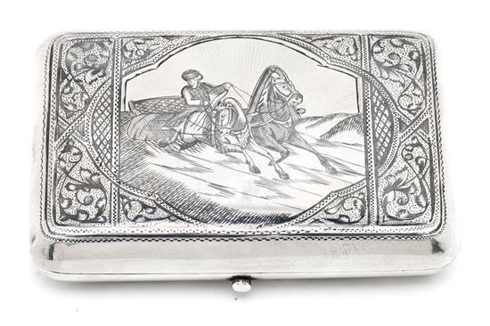 Pitillera rusa en plata nielada de Moscú, de finales del siglo XIX