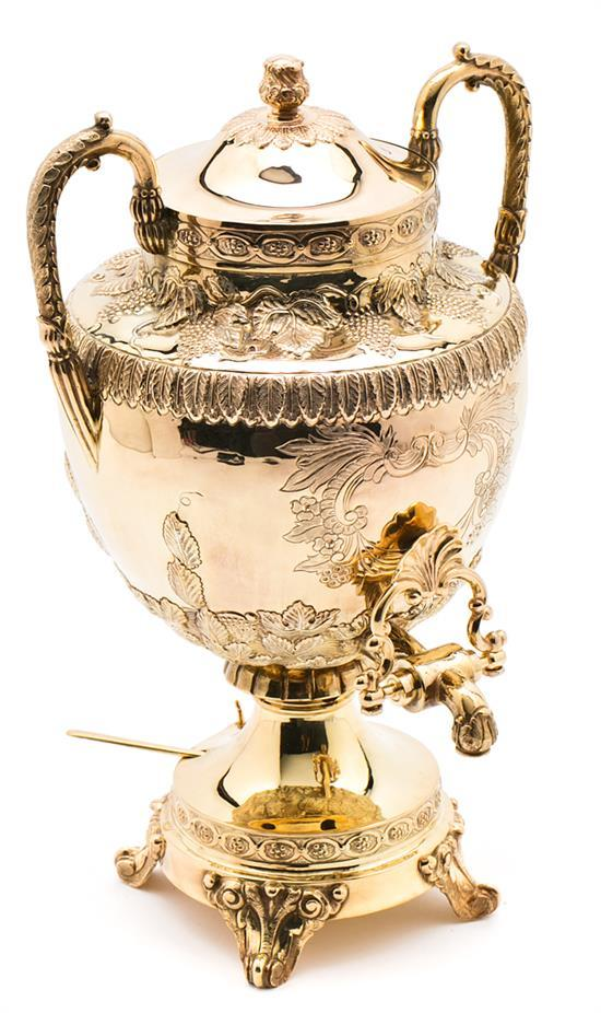 Russian silver-gilt samovar from Moscow, 1908