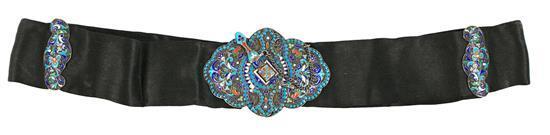 Cinturón ruso con hebilla y correderas en plata esmaltada en
