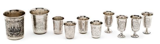 Juego de cuatro copas, cuatro vasos y dos vasos rusos en plata y plata nielada de Moscú, del último tercio del siglo XIX