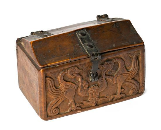 Spanish carved fruitwood chest, 16th Century