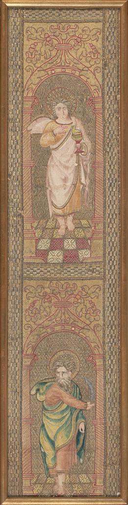 Cinco tejidos bordados renacentistas españoles en seda y oro, del siglo XVI