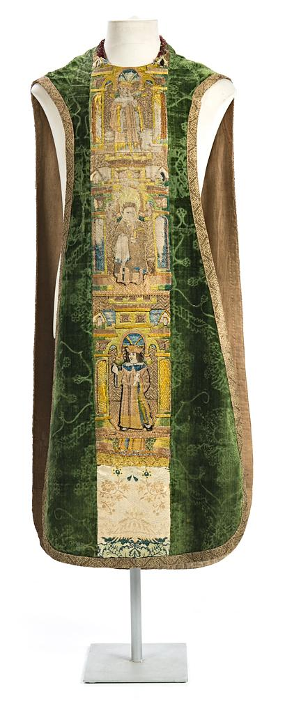 English chasuble in crushed velvet with embroidered orphrey band, late 15th Century