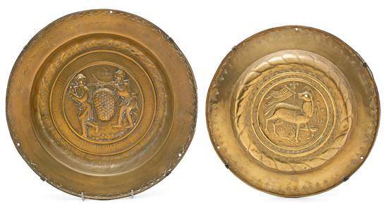 Two brass collection plates from Dinant or Nuremberg, 16th Century