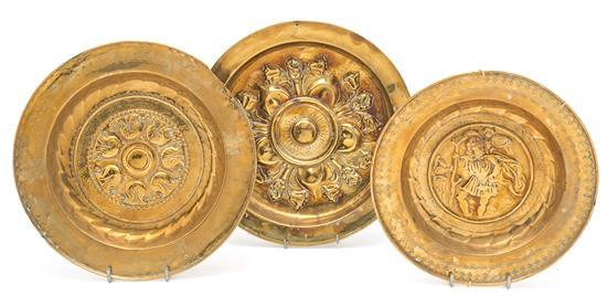 Three brass collection plates from Dinant or Nuremberg, 16th Century