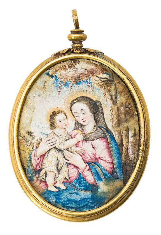 Escuela española o mexicana del siglo XVII Virgen con el Niño Miniatura al gouache sobre papel con marco en latón