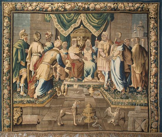 """""""La continencia de Escipión"""", tapiz francés en lana de Aubusson, de finales del siglo XVII-primeras décadas del siglo XVIII"""