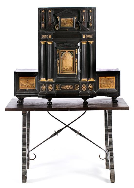 Italian Baroque cabinet in ebony, pietra paesina and gilt bronze, circa 1700