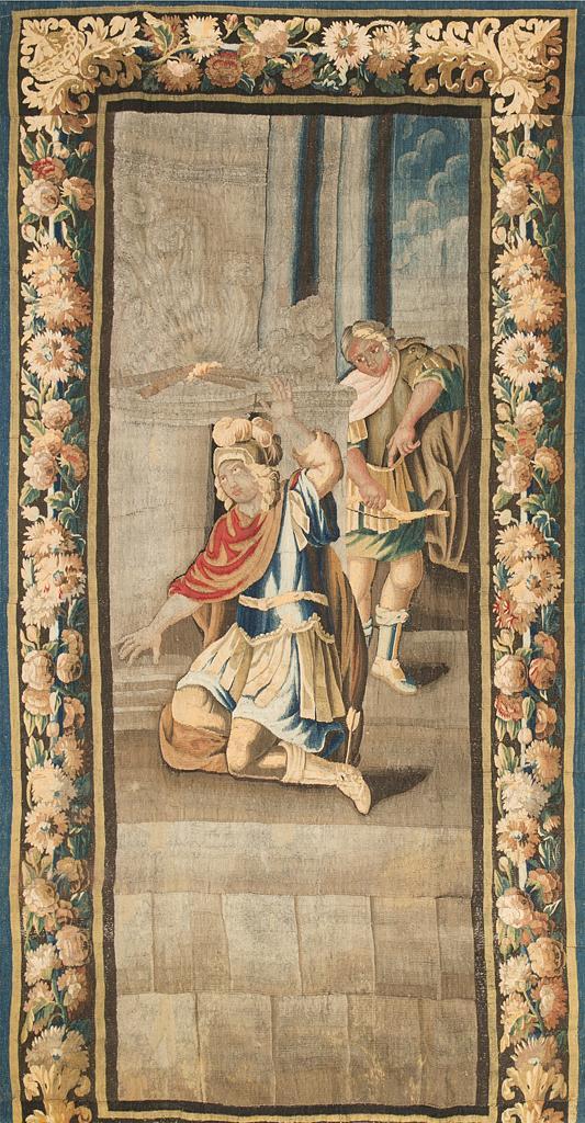 """""""Aquiles herido"""", tapiz francés en lana de Aubusson, de finales del siglo XVII-primeras décadas del siglo XVIII"""