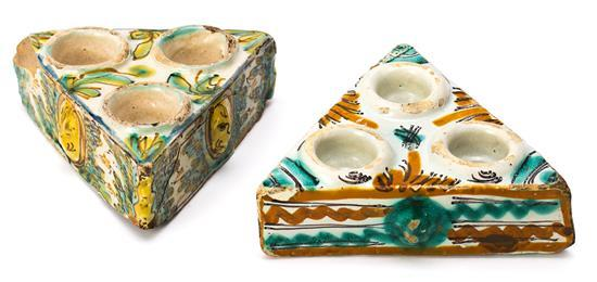 Two ceramic spice racks from Talavera, 18th Century