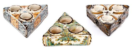 Three spice racks in Talavera ware, 18th Century