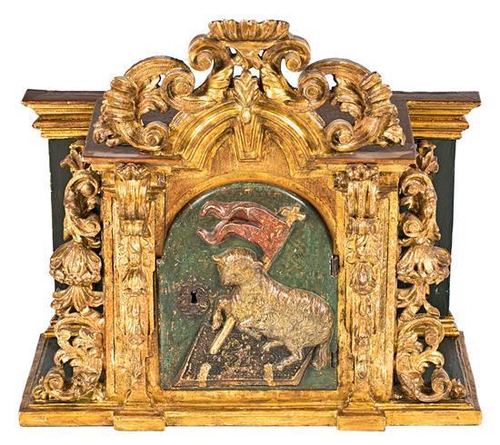 Escuela española del siglo XVIII Sagrario con el Agnus Dei Madera tallada, dorada y policromada