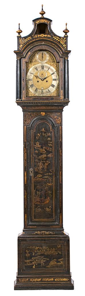English longcase clock with case lacquered with