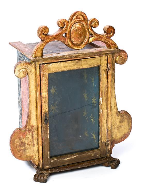 Hornacina española en madera pintada y dorada, del siglo XVIII