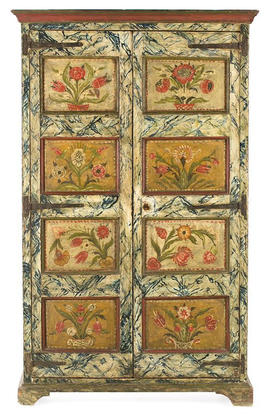 Spanish wardrobe in marble painted wood and with floral decoration, 18th Century