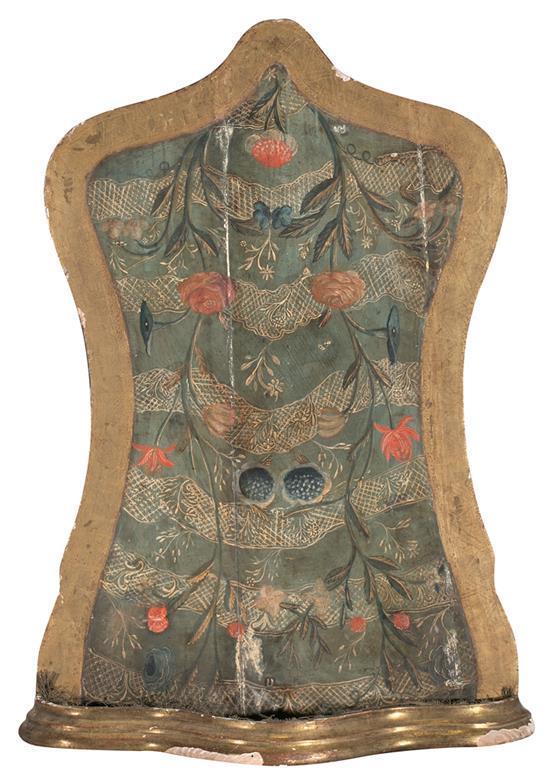 Fondo expositor español en madera pintada y dorada, del siglo XVIII