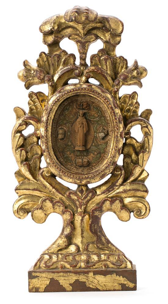 Spanish tabletop reliquary in carved and gilded wood, 18th Century