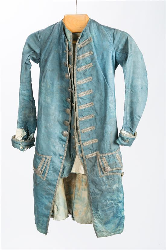 Spanish boy's matching silk frock coat and waistcoat, and gentleman's silk frock coat and trousers, late 18th Century