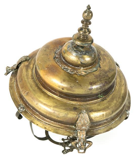 Lámpara votiva española en latón, del siglo XVIII