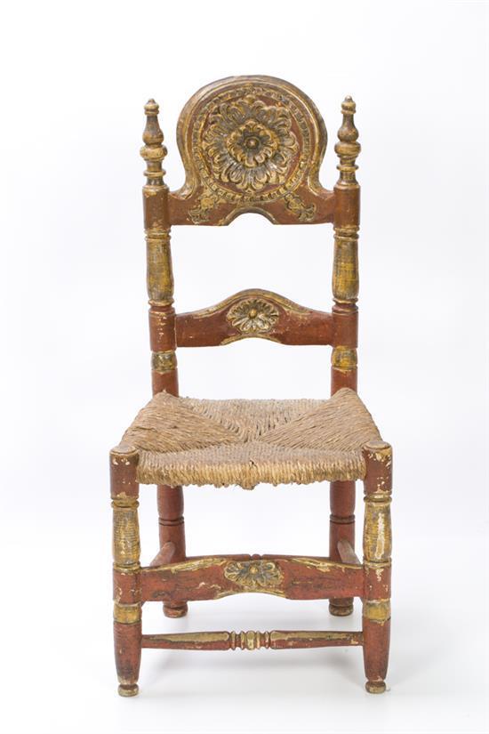 Juego de cinco sillas mallorquinas en madera tallada policr - Mallorquinas de madera ...