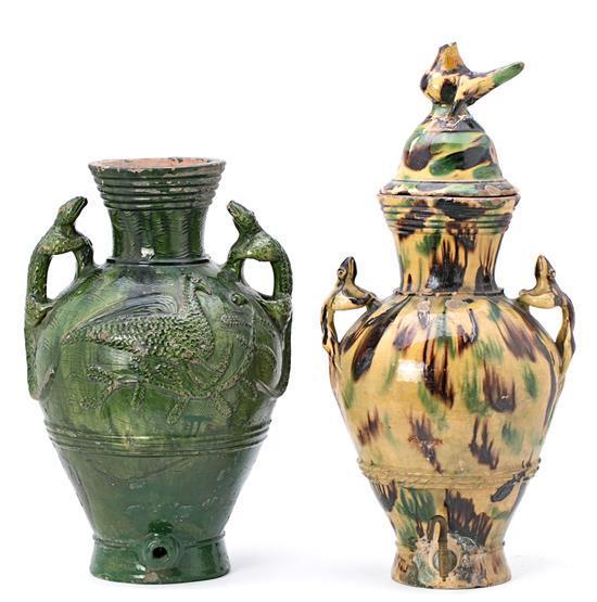 Dos aguamaniles catalanes en cerámica vidriada, de los siglos XVIII-XIX