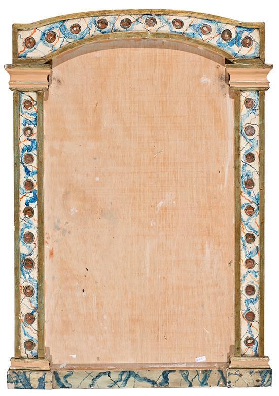 Marco-relicario en madera pintada en marmoleado, del siglo XVIII