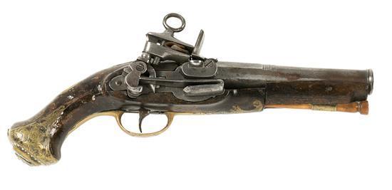 Pistola catalana de Ripoll en nogal, acero y latón con llave de