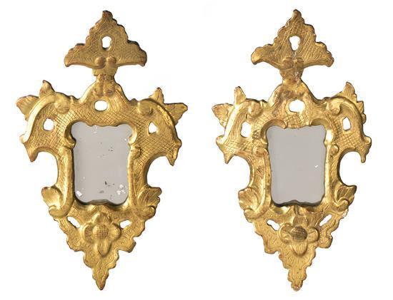 Pareja de cornucopias Carlos III en madera tallada y dorada, de la segunda mitad del siglo XVIII