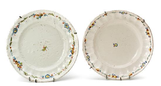 Two china platters from Alcora, from the second half of the 18th Century