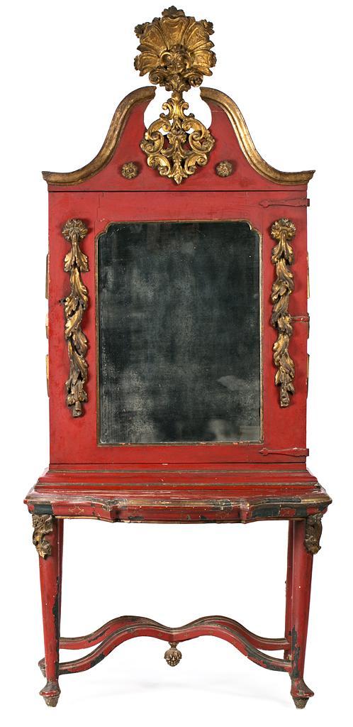 Cabinet estilo barroco en madera tallada, pintada y dorada, elaborado con elementos del siglo XVIII